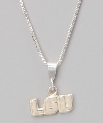 Silver LSU Charm Necklace