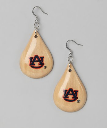 Light Wood Auburn Teardrop Earrings