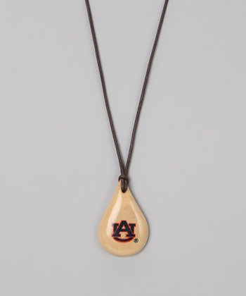 Light Wood Auburn Teardrop Pendant Necklace