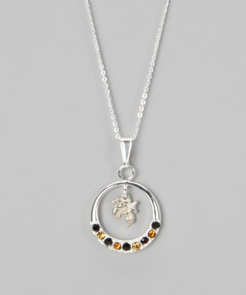 Georgia Tech Rhinestone Open Pendant Necklace - Women