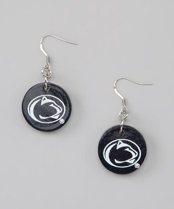 Dark Blue & White Penn State Circle Drop Earrings