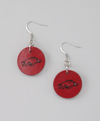 Cardinal & Black Arkansas Circle Drop Earrings