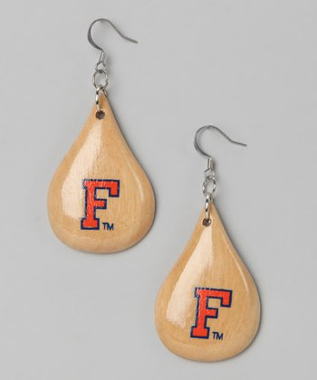 Florida Gators Light Wood Teardrop Earrings