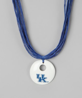 White & Blue Kentucky Pendant Necklace