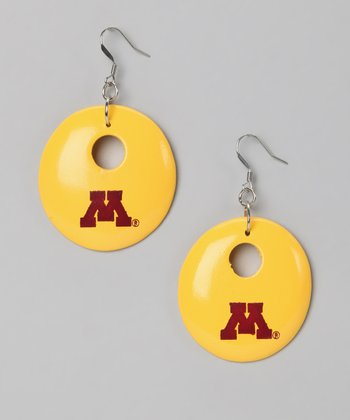 Gold & Maroon Minnesota Round Drop Earrings