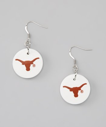 White & Burnt Orange Circle Drop Earrings