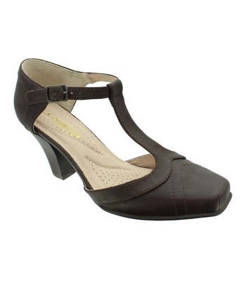 Brown Grace T-Strap Pump