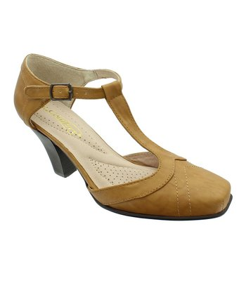 Tan Grace T-Strap Pump
