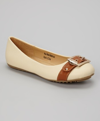 Beige & Light Brown Strap Flat