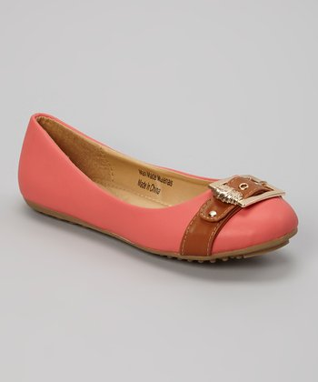 Coral & Light Brown Strap Flat