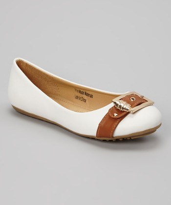 White & Light Brown Strap Flat