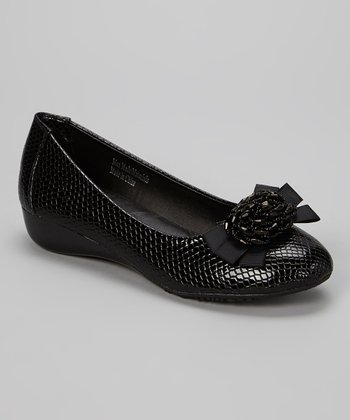 Black Snakeskin Bead Cluster Wedge