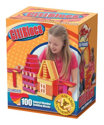 Hot Colors 100 Piece Wooden Building Blocks
