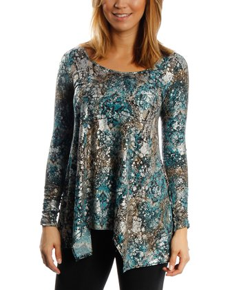 Turquoise Animal Scoop Neck Sidetail Top - Women & Plus