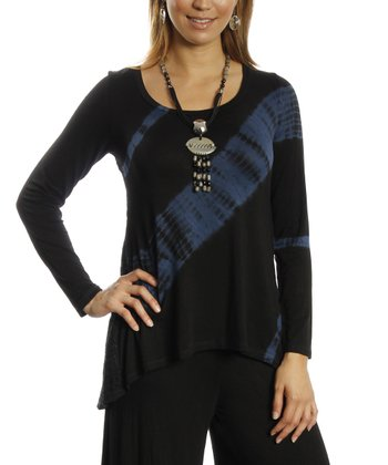 Black & Blue Sublimation Scoop Neck Sidetail Top - Women & Plus