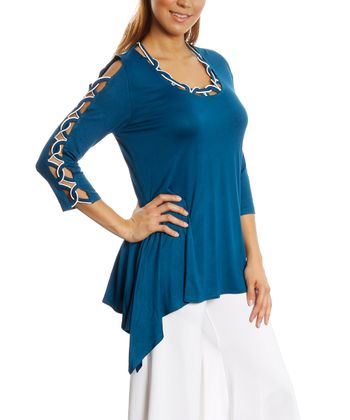 Teal Cutout Scoop Neck Sidetail Top - Women & Plus