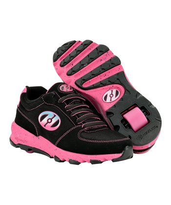 Black & Pink Juke Wheeled Sneaker - Girls