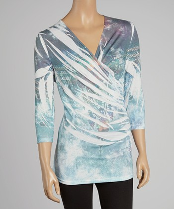 Blue Abstract Sublimation Surplice Top - Women & Plus