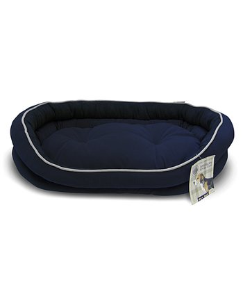 Blue Reversible Double Bolster Dog Bed
