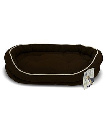 Brown Reversible Double Bolster Dog Bed