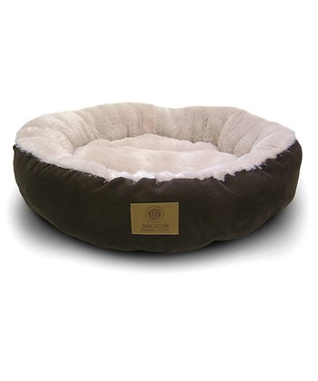 Brown Long Fur Round Dog Bed