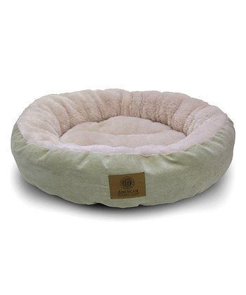 Green Long Fur Round Dog Bed