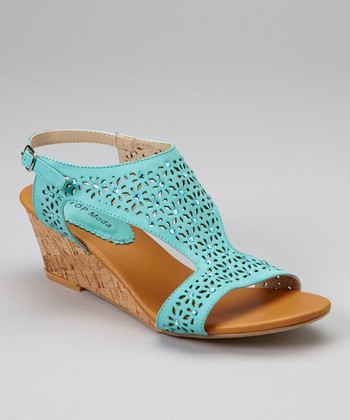 Teal Wedge Sandal