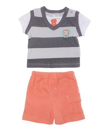 Gray Stripe Sweater Vest Tee & Salmon Shorts