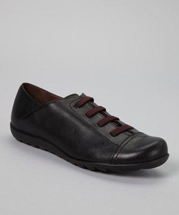 Wonders Black Leather Oxford