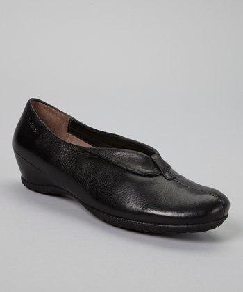 Wonders Black Flap Leather Wedge