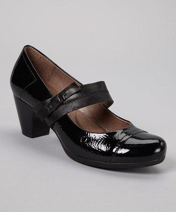 Wonders Black Mary Jane Leather Pump
