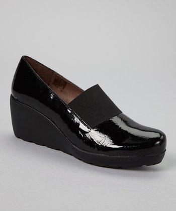 Wonders Black Leather Wedge