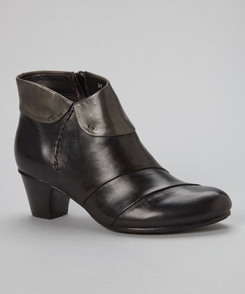 Black & Gray Galore Leather Ankle Boot