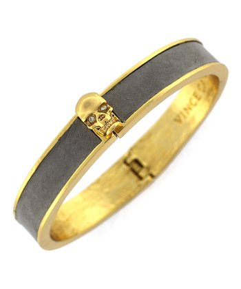 Gold & Gray Leather Skull Bracelet