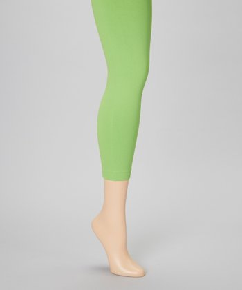 Lime Green Footless Tights Set - Women