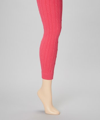 Pink Cable-Knit Footless Tights Set - Women