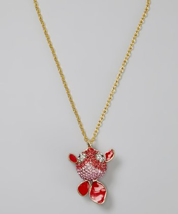 Red Rhinestone Fish Pendant Necklace