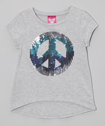 Silver Snow Sequin Peace Cap-Sleeve Tee