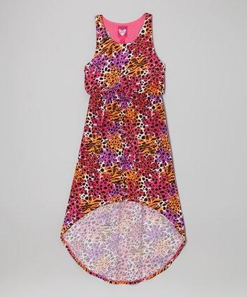 Derek Heart Pink Safari Hi-Low Maxi Dress