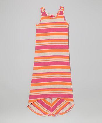 Derek Heart Pink Stripe Hi-Low Maxi Dress
