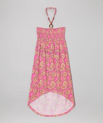 Derek Heart Pink Paisley Shirred Halter Dress