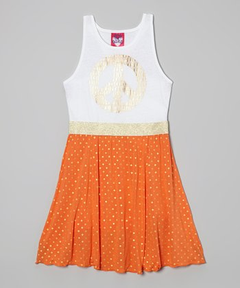 Tangerine & Metallic Gold 'Peace' Dress