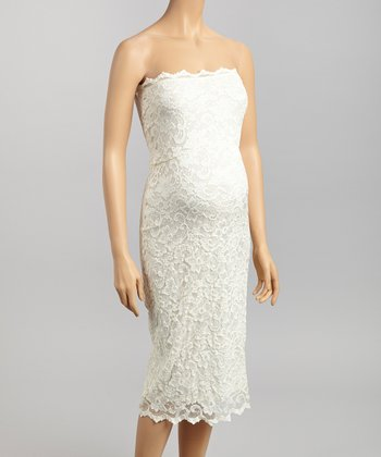 Ivory Lace Maternity Strapless Dress - Women