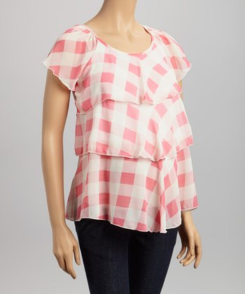Pink Gingham Maternity & Nursing Top - Women