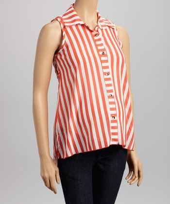 Coral Stripe Maternity Sleeveless Button-Up