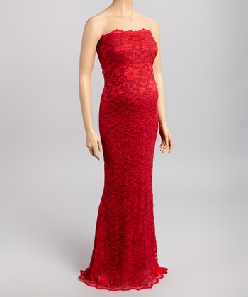 Red Lace Maternity Strapless Maxi Dress - Women
