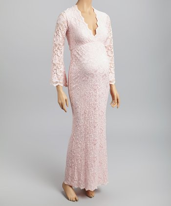 Pink Lace Maternity Surplice Maxi Dress - Women