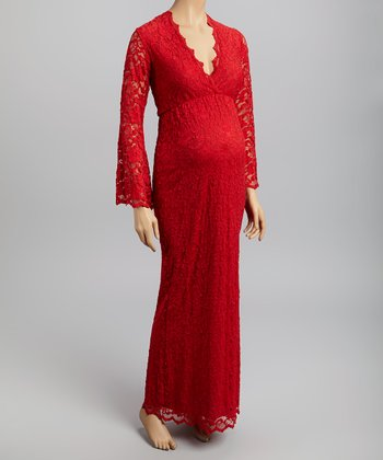 Red Lace Maternity Surplice Maxi Dress - Women & Plus
