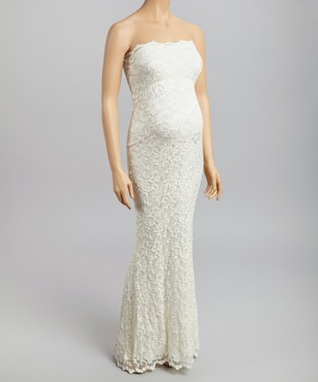 Ivory Lace Maternity Strapless Maxi Dress - Women & Plus