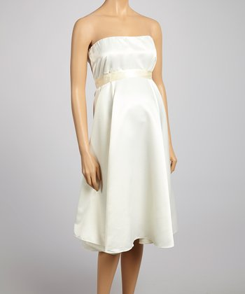 Ivory Audrey Maternity Strapless Dress - Women & Plus